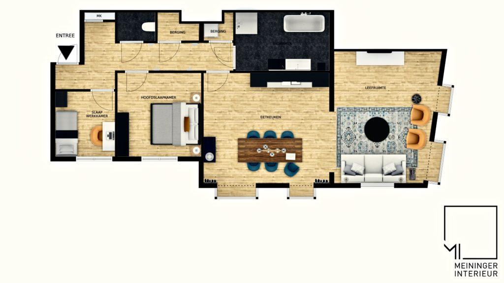Plattegrond appartement interieur